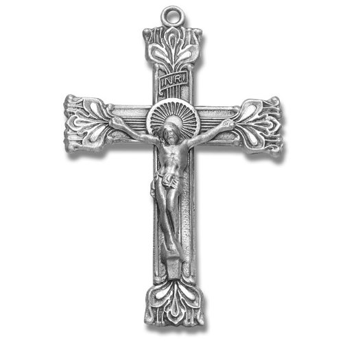 Sterling Silver Religius Medal Large Fancy Rosary Crucifix Cross.with 24