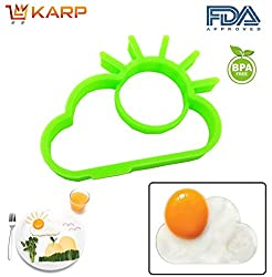 """KARPâ""""¢ Set Of 2 Sun Shape Silicone Fried Egg Mold Pancake Rings, Non Stick Bakeware Accessories Kitchen Tools,BPA free, FDA approved, 100% food grade silicone - Green"""