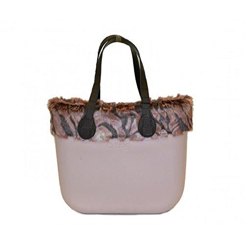 Borsa O Bag grande rosa manici a spalla e bordo eco pelliccia
