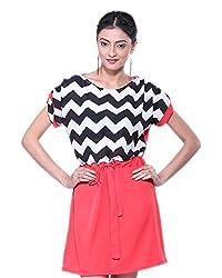 VeaKupia Women's Asymmetric Regular Fit Dress (Black & White, 36)