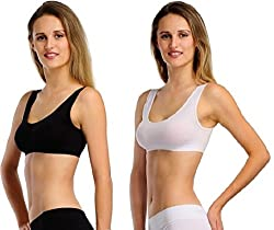 BYC White, Black Sports Bra (Free Size) (Pack of 2)