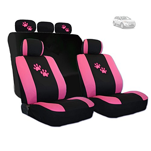 YupbizAuto NEW Design 2 Tone Black and Pink with Pink Paws Logo Front and Rear Car Seat Covers Support 50/50, 60/40 Rear Split Seat (Pink Toyota Corolla Seat Covers compare prices)