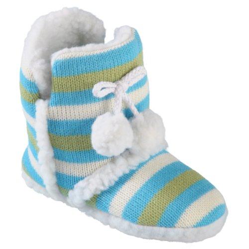 Journee Collection Kids Striped Pom Pom Slipper Boots