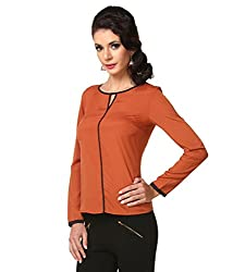 Zastraa Women's Top (ZSTRDRESS0046_Brown_Small)