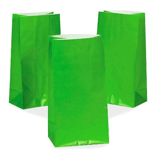 Green Paper Goody Bags (1 dz) - 1