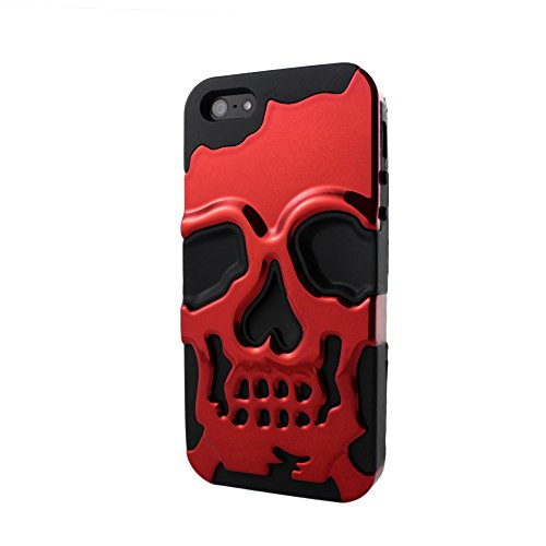 Sanoxy 3D Skull Style Dual-Layer PC + Silicone Back Case for iPhone 5/5S  - Non-Retail Packaging - Red