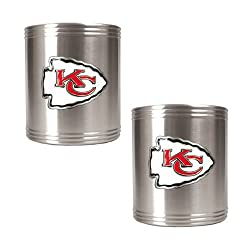 NFL Kansas City Chiefs Two Piece Stainless Steel Can Holder Set- Primary Logo
