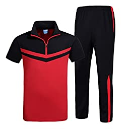 Homaok Men\'s Outdoor Quick Dry Tracksuits Short Sleeve Shirt and Elastic Waist Pants X-Large Red