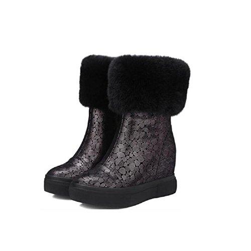 YYH E Cashmere aumentato l'ispessimento con scarpetta confortevole neve stivali in vera pelle Slim-donna , gray , 38
