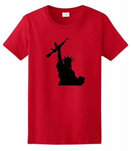 Statue Of Liberty Holding Assault Rifle Ladies T-Shirt Small Red