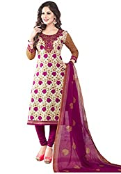 Salwar House Purple Unstitched Cotton Printed Dress Material with Dupatta