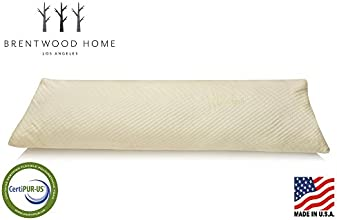 Brentwood Home Fresh Start Body Pillow Gel Memory Foam Fill and Bamboo Cover Made in USA Body