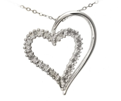 Ladies' Diamond Heart Pendant Necklace, Prong Set, 9ct White Gold Trace Chain, 46cm Length, 0.06 Carat Diamond Weight, Model PP3175W (DP1321)