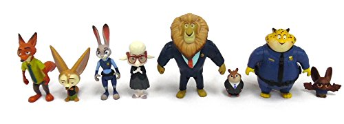 Zootopia Character Pack 8 Piece Set, Mayor Lionheart and Lemming, Officer Clawhauser and Bat, Finnik and Nick Wilde, and Judy and Mayor Bellwether