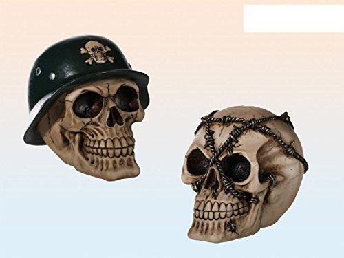 1x salvadanaio, salvadanaio, salvadanaio Skull, teschio con casco militare o filo spinato