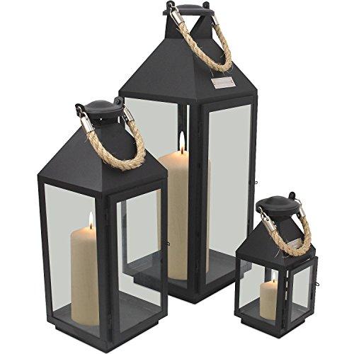 3tlg-Modisches-Laternen-Set-in-Schwarz-H244155cm-Metalllaterne-Gartenlaterne-Laterne-Windlicht-mit-Aufhngung-Metallgestell-mit-Glasfenstern-Kerzenhalter-Gartenbeleuchtung-Dekoration