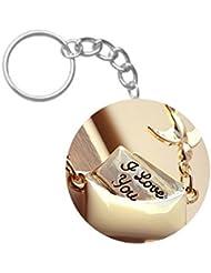 I Love You :) | ShopTwiz WOODEN Circle Key Ring