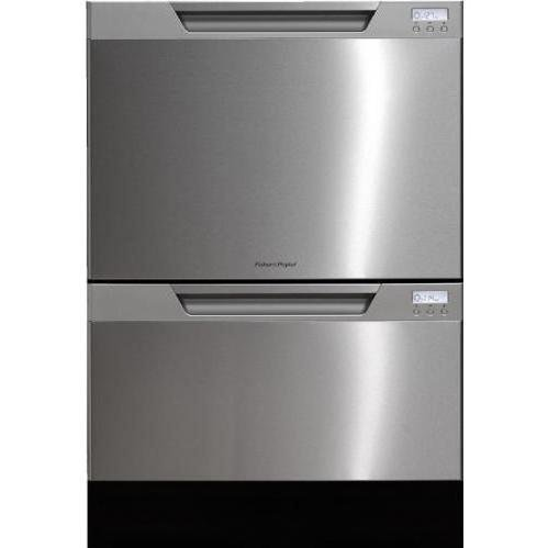 Fisher & Paykel : DD24DCTX6 Semi-Integrated Double DishDrawer - Stainless Steel with LCD Display