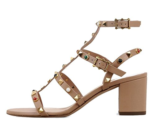Juoar Women's Open Toe Ankle Strap Buckle High Heels Gladiator Rivets Sandals For Casual Dress Shoes Patent Leather Nude US6