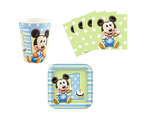 Mickey Mouse Baby 1st Birthday Party Supplies Set Plates Napkins Cups Kit for 16