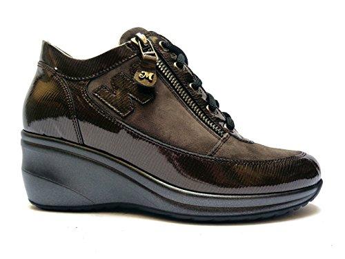 Melluso scarpe da donna linea comoda in vernice/camoscio col. Piombo zeppa cm. 6, n. 39