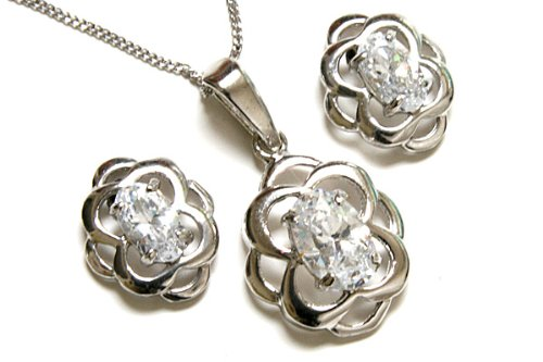9ct White Gold Celtic Cubic Zirconia Pendant and Earring set