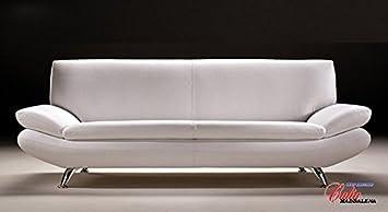Calia Maddalena - Pouff - 60x60x40 cm in Pelle Smerigliata Bianco per Divano moderno Biancaneve