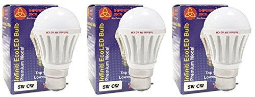 Infiniti-Eco-B22-5W-LED-Bulb-(Cool-White,-Pack-of-3)