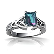 buy 14Kt White Gold Lab Alexandrite And Diamond 7X5Mm Emerald_Cut Celtic Knot Ring - Size 7