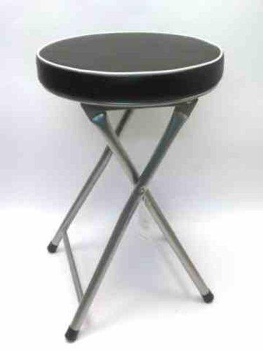 Sedia sgabello pieghevole in metallo con seduta morbida imbottita altezza cm48; colore scuro