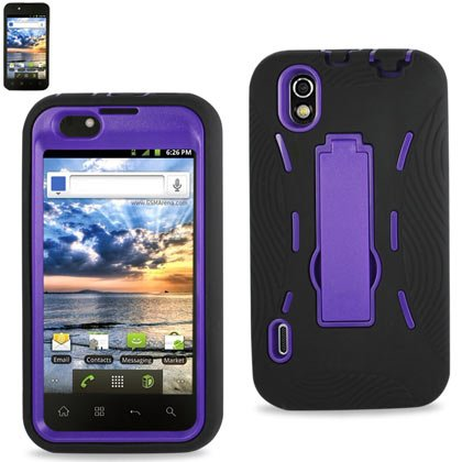 41fdGuJvcyL LG Marquee/Ignite/LS855 Black/Purple Combo Silicone Case + Hard Cover + Kickstand Hybrid Case BoostMobile/Sprint