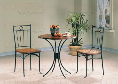 3pc Bistro Metal & Wood Dining Tea Table & 2 Chairs Set