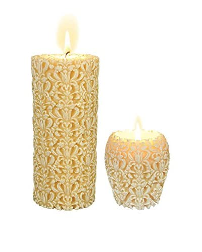 Volcanica Set of 2 Large White Paramount Candles As You See