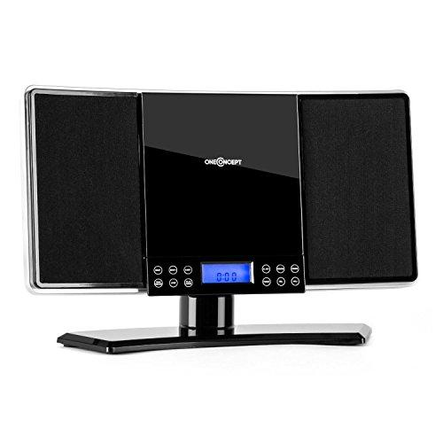 oneConcept V14 Design Stereoanlage Mini Vertikal Anlage Kompaktanlage (UKW-MW-Radio, MP3-CD-Player, AUX, Fernbedienung, Sleeptimer) schwarz