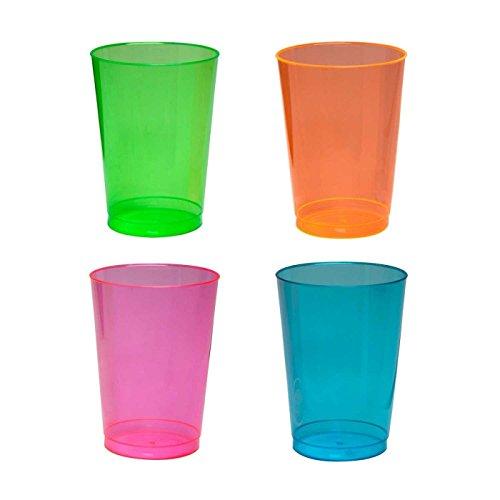 50 x Plastic Neon Tumbler Glasses 10 oz