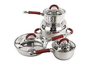 Imperial Home Stainless Steel Cookware Set - 7 Pcs Pots and Frying Pan Set with Lids