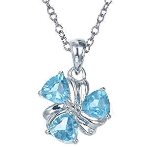 """Sterling Silver Blue Topaz Pendant (1.20 CT) With 18"""" Chain"""