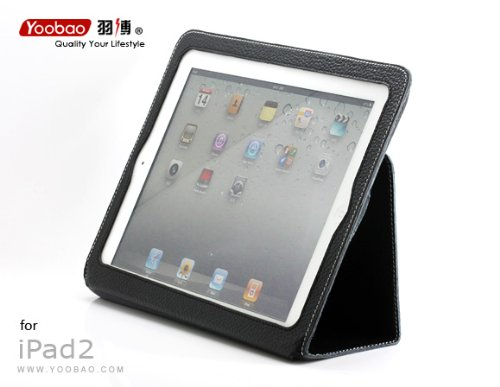 iPAD2 100% Genuine Leather Case with Wakeup/Sleep function Version 3 (BLACK)