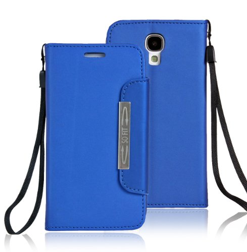 JKase Wallet Leather Case Cover with Credit / Business Card Holder Samsung Galaxy S4 SIV I9500 - Retail Packaging (Blue)