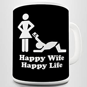 Happy Wife, Happy Life. Funny Husband Joke Printed Coffee ...
