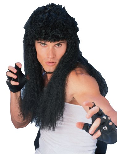 Rubie's Costume Long Curly Wig, Black, One Size