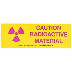 "Brady Pink on Yellow Radiation and Laser Sign, ""Caution Radioactive Material"" (with Picto)"