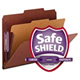 Pressboard Classification Folders, Self Tab, Letter, Four-Section, Red, 10/Box by SMEAD (Catalog Category: Files & Filing Supplies / File Folders)