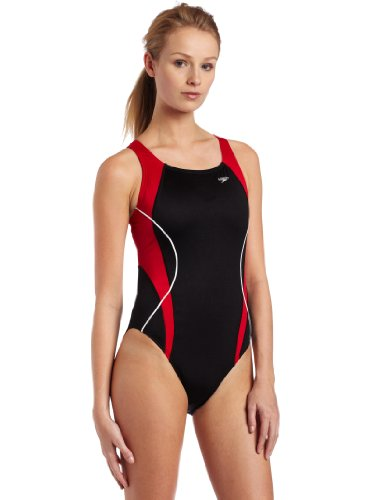 Speedo Women's Speedo Women'S Race Xtra Life Lycra Optik Spliced Powerback Swimsuit,Black/Red,38