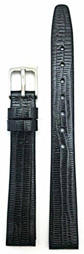 12Mm Black, Teju Lizard Grain Leather, Flat, Watch Band