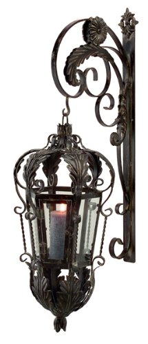 40″ Baroque Leaf & Scroll Candle Lantern with Wall Mounted Bracket