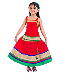 Home Shop Gift Cotton Party Wear red lehenga choli set for kids ( girls )