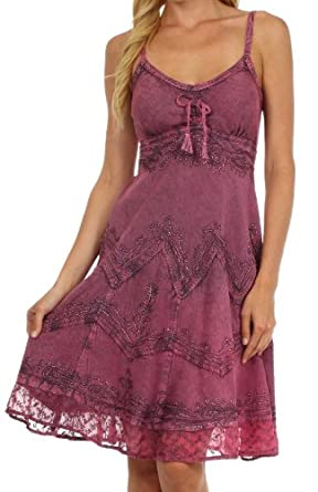 Sakkas 4031 Stonewashed Rayon Embroidered Adjustable Spaghetti Straps Mid Length Dress - Orchid - L/XL