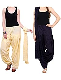 Mango People Products Patiala Salwars And Dupatta Set Combo(Free Size,Cream & Navy Blue Colour By Mango People...