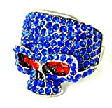 Blue Diamante Skull Costume Ring